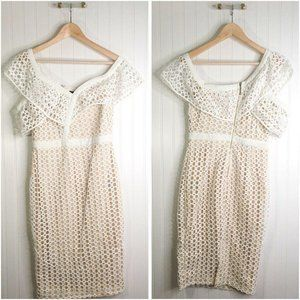 Ricarica Womens Sheath Dress Ivory Textured Lace B